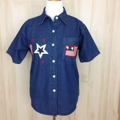 NWT NATURAL IMPRESSIONS Womens Patriotic SS Denim Top Red White Blue Flag Size M #NATURALIMPRESSIONS #ButtonDownShirtJEANSHIRT #Casual