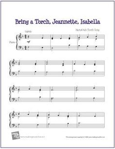 Bring A Torch, Jeannette, Isabella | Free Sheet Music for Easy Piano - http://makingmusicfun.net/htm/f_printit_free_printable_sheet_music/jeannette-isabella-piano-solo.htm