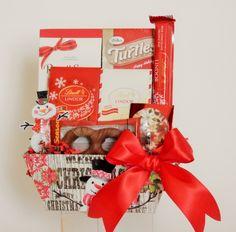 Snowman Theme Snack Gift Basket Lindt Lindor, Business Profile, Novelty Items, Gift Baskets, Holi, Floral Arrangements, Party Favors, Snowman, Custom Design