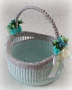 Large Girl's Classic Round Easter Basket Handmade Wicker basket with handle Egg carry basket of mint color Easter favors Gift For flowers Easter Baskets, Gift Baskets, Wicker Baskets With Handles, Wedding Gift Wrapping, Etsy Handmade, Handmade Gifts, Newspaper Basket, Round Basket, Flower Girl Basket