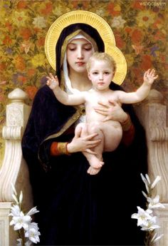 "The Madonna of the Lilies x Photo Print, Art by William-Adolphe Bouguereau. Reproduced in this photo print is an 1899 painting of the Holy Mother and Child by William-Adolphe Bouguereau entitled ""The Madonna of the Lilies. William Adolphe Bouguereau, Blessed Mother Mary, Blessed Virgin Mary, Jesus Mother, Mother And Child, Religious Icons, Religious Art, Religious Paintings, La Madone"