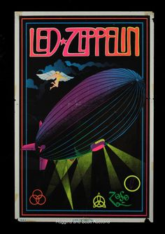 Black+Light++1970s+posters   Early 1970s Led Zeppelin Original Black Light Posters