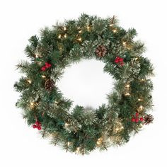 24 in. Classic Pine Pre-lit Wreath with Berries and Pine Cones - The 24 in. Classic Pine Pre-lit Wreath with Berries and Pine Cones has the classic warmth of a crackling fireplace. This 24-inch wreath is perfect for...