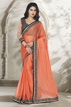 Orange #PartyWear Lycra #Saree with #Velvet Blouse