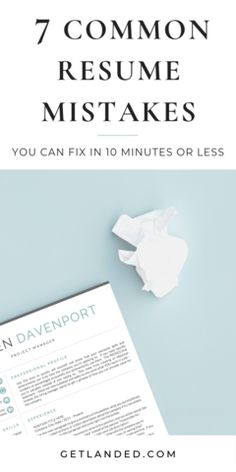 7 Crucial Resume Errors that can be fixed in 10 minutes or less. Resume Advice, Resume Writing Tips, Resume Help, Career Advice, Cover Letter Tips, Cover Letter For Resume, Cover Letters, Resume Design Template, Resume Templates