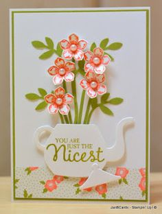 Stampin' Up teapot of flowers -- so pretty! Great idea. Cups and Kettle framelits.