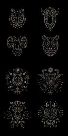 Taxidermie by BMD Design Logo Design, Graphic Design, Viking Tattoos, Symbolic Tattoos, Geometric Art, Sacred Geometry, Body Art Tattoos, Tattoo Inspiration, Line Art