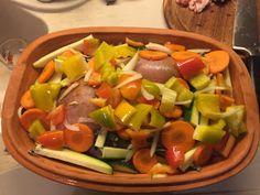 Pollo con peperoni alla Romertopf