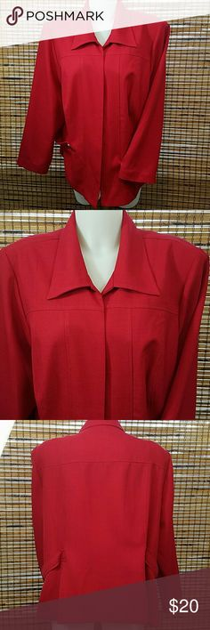 """Lady Dorby Red Blazer Lady Dorby Red Blazer.  ??Size 22w ?? Condition Excellent  ?? No Stains ?? No Rips or Tears ?? Send me an Offer Prices are negotiable  ??Ships same day no later than the next day! ??Message me with any questions  ?? Bust 50"""" ??Length 28"""" ??Material 100% Polyester Lady Dorby  Jackets & Coats Blazers"""