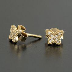 Pandora 14k Gold Petite Butterfly Earrings - 250320CZ