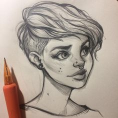 "I love browsing Pinterest for sketch inspiration! There's so many beautiful women on there with amazing styles  wish I could be brave with my hair! I think this paper might be too smooth for pencils though  have any of you ever done something ""crazy"" with your hair?"