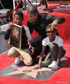 Usher's Kids Are All Grown Up! See the Boys at His Hollywood Walk of Fame Ceremony
