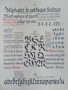 Variations sur la Fraktur cm X 32 cm) How To Write Calligraphy, Calligraphy Letters, Typography Letters, Gothic Lettering, Hand Lettering, Letter Art, Letter Writing, Gothic Text, La Danse Macabre