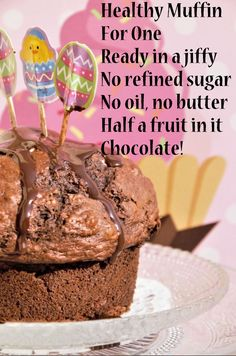 Easy, super healthy (like really, not just because there's half a fruit in it), you should definitely make this muffin if you don't want to make a batch of them and you love chocolate! Triple Chocolate Muffins, Love Chocolate, Cashew Butter, Golden Syrup, First Bite, Healthy Muffins, Bakery, Ice Cream, Fruit
