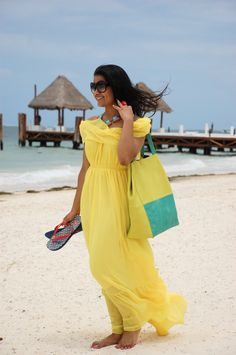 LovePlayingDressup, beach essentials, mexico, maxi, yellow, beach bag, giveaway, prada, tory burch, summer outfit, vacation style, beach essential