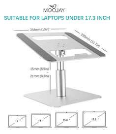 Moojay laptop stand prevent laptop overheating. It can easily accommodate 10-17.3in laptops and tablets, providing stable support. Compatible with Mac MacBook/Dell XPS/Microsoft Surface/HP/Lenovo ThinkPad/Acer Laptop. Laptop Cooling Pad, Tilt Angle, Dell Xps, Laptop Stand, Microsoft Surface, Aluminium Alloy, Macbook, Acer, Laptops