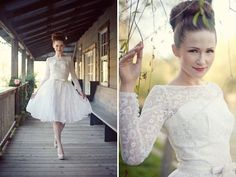 Vintage Wedding Dress Inspiration. Love the hair, the dress (except maybe shorter), and the nude heels!