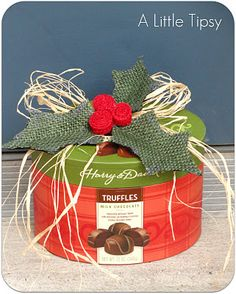 Cute holly gift topper made from burlap