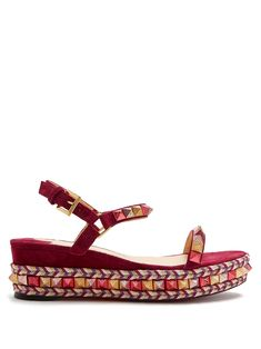 Click here to buy Christian Louboutin Pyraclou 60mm flatform espadrilles at MATCHESFASHION.COM