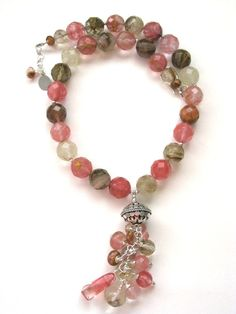 Faceted Cherry Volcano Quartz Cascade Sterling Necklace  by Capricedesigns, $90.00 Handmade jewelry. Handmade necklace