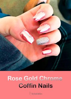 Cute Rose Gold Chrome Coffin Nails! #rose_gold_nails #chrome_nails #coffin_nails