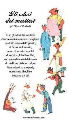 Gli-odori-dei-mestieri.Gianni Rodari I Love School, Baby F, Vintage School, Italian Language, Learning Italian, Learning Through Play, Kids Education, Primary School, Vintage Books