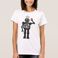 Shop Heart Bot Apparel T-Shirt created by botspot. Personalize it with photos & text or purchase as is! Wardrobe Staples, Fitness Models, T Shirts For Women, Female, Tees, Casual, Robot, Fabric, Cotton