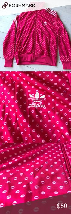 adidas pink firebird lips jacket cute all pink adidas jacket with lips print all over. 3 stripes down arms, white adidas logo on back adidas Jackets & Coats