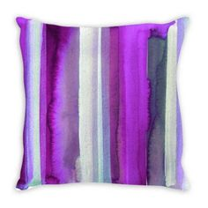 OUTSIDE THE LINES Plum Purple Suede Throw Pillow Cushion Cover, #homedecor #throwpillow #pillow #purplepillow #stripes #watercolor #artdecor #violet #style #abstractart #plum #dorm #teendecor Purple Pillows, Purple Suede, Plum Purple, Sell On Etsy, My Etsy Shop, Art Decor, Decor Ideas, Small Shops