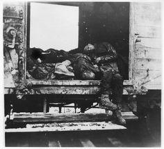 Dachau, Germany, Corpses in a train car.