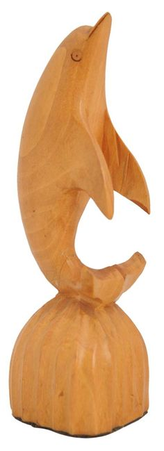 "Bulk Wholesale Hand-Crafted 5"" Decoration Piece of Dolphin on Plinth in Light-Brown Kadam Wood - Ethnic-Look Home Décor from India"