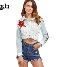 SheIn Women Long Sleeve Blouse Clothes Women White Embroidered Rose Applique Contrast Organza Sleeve Casual Blouse