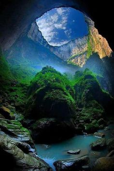 """""""The Xiaozhai Tiankeng. """" The Xiaozhai Tiankeng, also known as the Heavenly Pit, is the world's deepest sinkhole. It is located in Fengjie County of Chongqing Municipality, in southwest China. Beautiful Places To Visit, Beautiful World, Beautiful Ocean, Beautiful Natural Places, Places To Travel, Places To Go, Travel Destinations, Landscape Photography, Nature Photography"""
