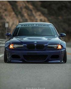BMW E46 M3 blue slammed widebody