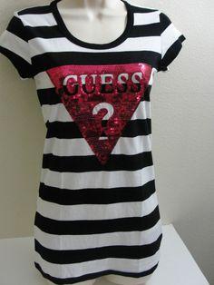 GUESS TRACY STRIPE TOP T-SHIRT OBERTEIL SCHWARZ WEISS ROTE PAILLETTEN 40 L in Kleidung & Accessoires, Damenmode, T-Shirts | eBay