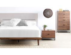 Structube - Bedroom : Chests of drawers : Mikael (Walnut) Bedroom Bed, Dream Bedroom, Bedrooms, Bedroom Ideas, Master Bedroom, Bedroom Chest Of Drawers, Modern Platform Bed, Apartment Makeover, Bed Lights