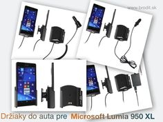 Nové držiaky do auta pre Microsoft Lumia 950 XL. Pasívny držiak Brodit pre pevnú montáž v aute, aktívny s CL nabíjačkou, s USB alebo s Molex konektorom.