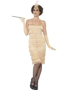 Flappertytön mekkoasu; kulta. Mekkoasun rimpsuhelma paljastaa polvet, mutta on kuitenkin tyylikäs, kuten aikakauteen kuuluukin. Samansävyiset käsineet sekä päähine viimeistelevät naamiaisasun tyylin.