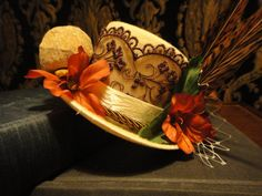 Steampunk Snail Cream Bridal Mini Top Hat - Chocolate Lace and Red Tailed Pheasant Feathers