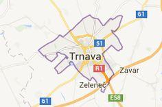 Mapa oblasti Trnava Slovensko