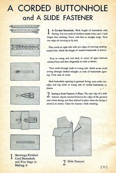 Corded Bound Buttonholes and Slide Fasteners: 1939 Sewing Secrets by DominusVobiscum