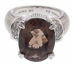 Judith Ripka Sterling Silver 8.00 ct Smoky Quartz Ring Size 7