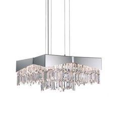 "Schonbek Riviera Crystal Chandelier Size: 10"" H x 18"" W x 18"" D, Finish: Stainless Steel"