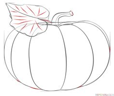 pumpkin drawing step by step. how to draw a pumpkin step by step. drawing tutorials for kids and beginners.