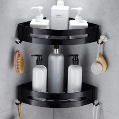Nail Free Space Aluminum Black Bathroom Shelf Cosmetic Rack With Single Lever Bath Corner Basket With Hook Bathroom Rack Shelf C Shelves, Black Bathroom Accessories, Rack Shelf, Bathroom Baskets, Bathroom Shelves, Home Security Tips, Bathroom Rack, Rack, Black Bathroom
