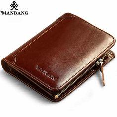 Genuine Leather Uomo Casual Breve Wallet Designer di alta qualità con porta carte di credito