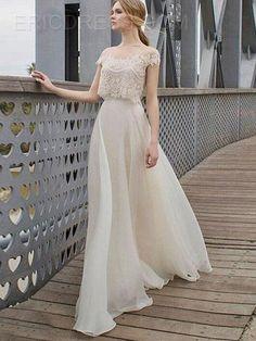Ericdress Lace Patchwork Slash Neck Maxi Dress 2
