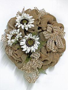 Burlap Sunflowers, Primitive Country Wreath