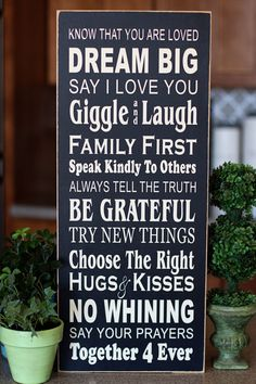 Dream Big Family Rules Subway Art  wooden sign by LandeeOnEtsy, $32.00