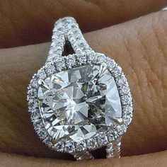 2.68 CARAT CUSHION CUT DIAMOND SOLITAIRE ENGAGEMENT RING IN 14K WHITE GOLD OVER…